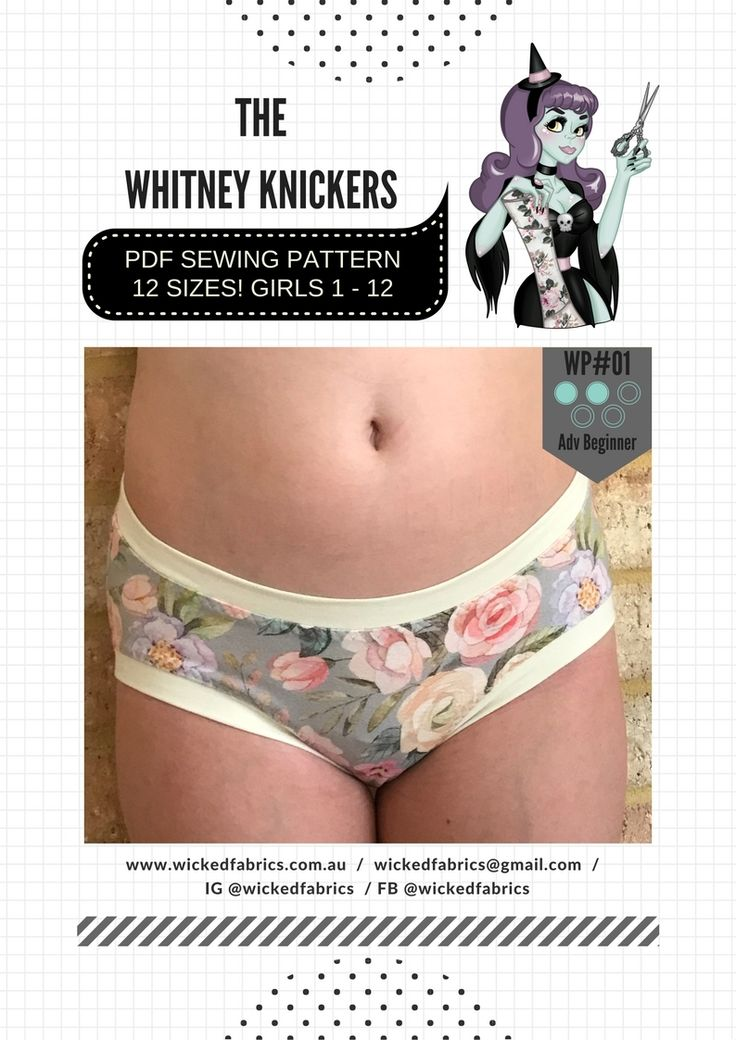 """""""The Whitney Knickers"""" WP#01 Size 1 - 12 Girls PDF Sewing Pattern by Wicked Patterns"""