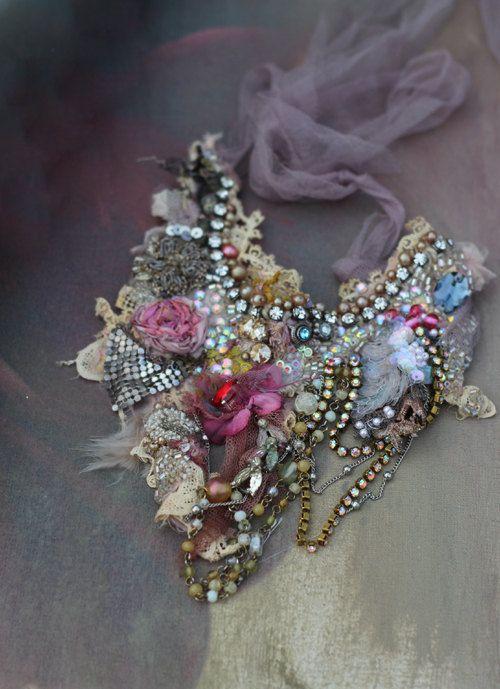 Mirabilia necklace delicate  shabby chic by FleursBoheme on Etsy
