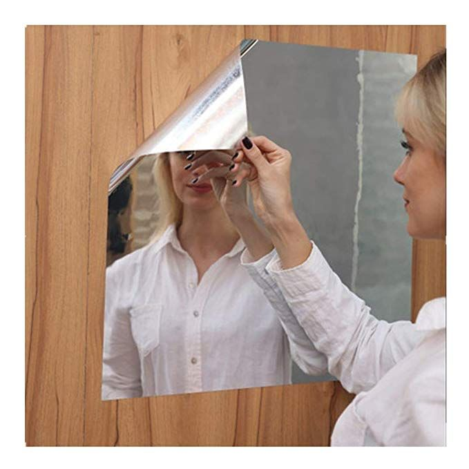 1 Roll Rectangle Self Adhesive Mirror Wall Sticker With Blue Protective Film