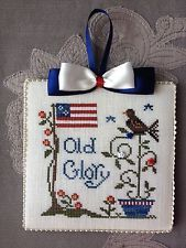Finished Old Glory Little House Needleworks Patriotic Cross Stitch Ornament