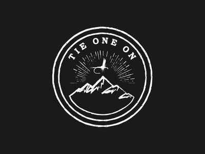 Circle Vintage logo with mountains & fly One concept for the fly fish shop & pub Design