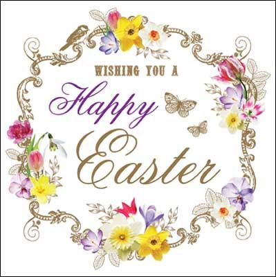 Gold, floral #Easter card finished with glitter varnish. The card is left blank inside for your own greeting.