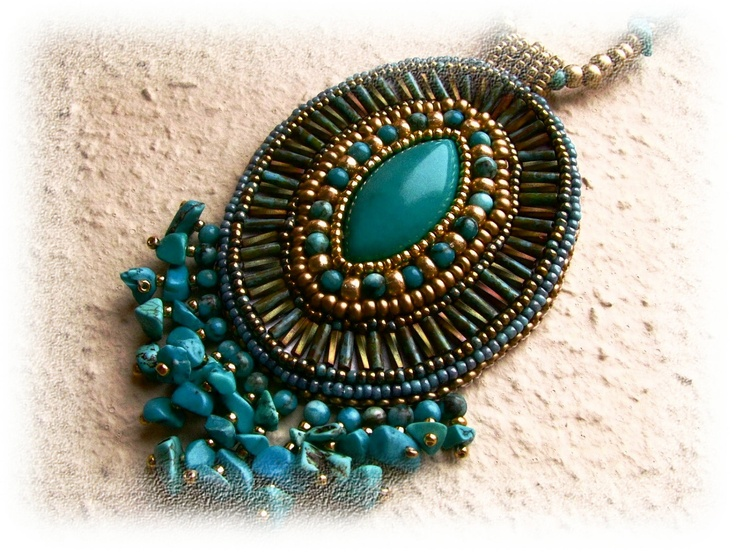 Bead embroidered necklace - turquoise,  gold, patina green - bead embroidery - OOAK. $80.00, via Etsy.