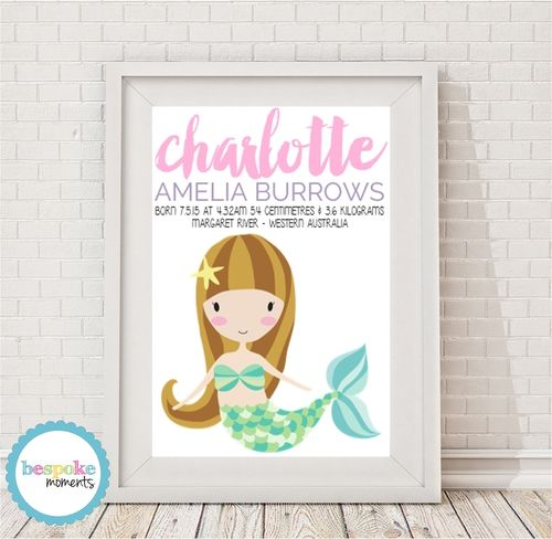 Mermaid Birth Print by Bespoke Moments. Worldwide Shipping Available.