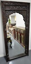 Antique Timber Hand Carved Indian Window Frame Mirror Architectural Statement 84cmx184cm $520