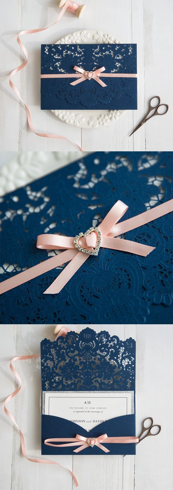 navy blue and peach laser cut wedding invitations with silver layer swws028 #stylishweddinginvitations