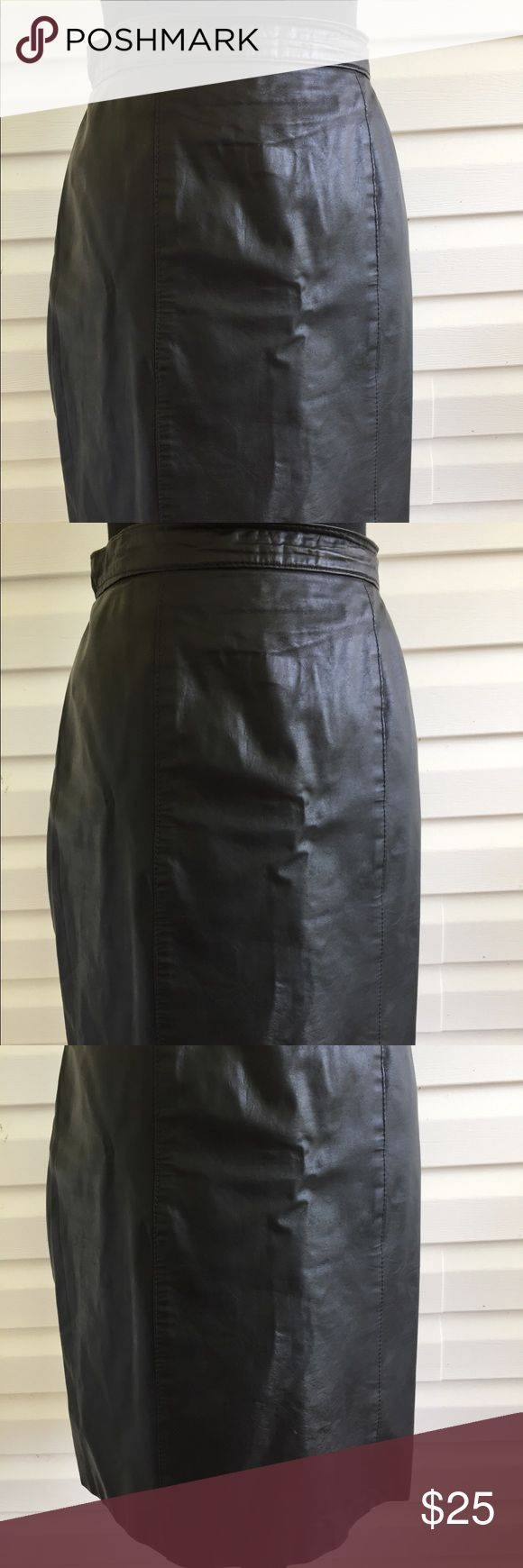 Black COMINT Leather Midi skirt Gorgeous COMINT Leather Midi Skirt Measurements  Waist 30 Hips 42 Length 22 inches from hem to hem comint Skirts Midi