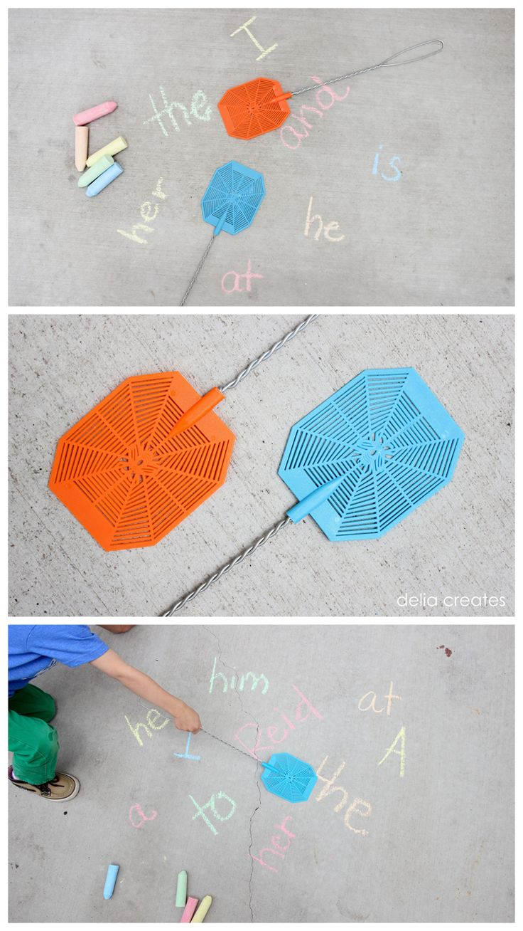 outdoor language activities.  could also do it on a wall with large rolls of paper.  or on a dry erase board...
