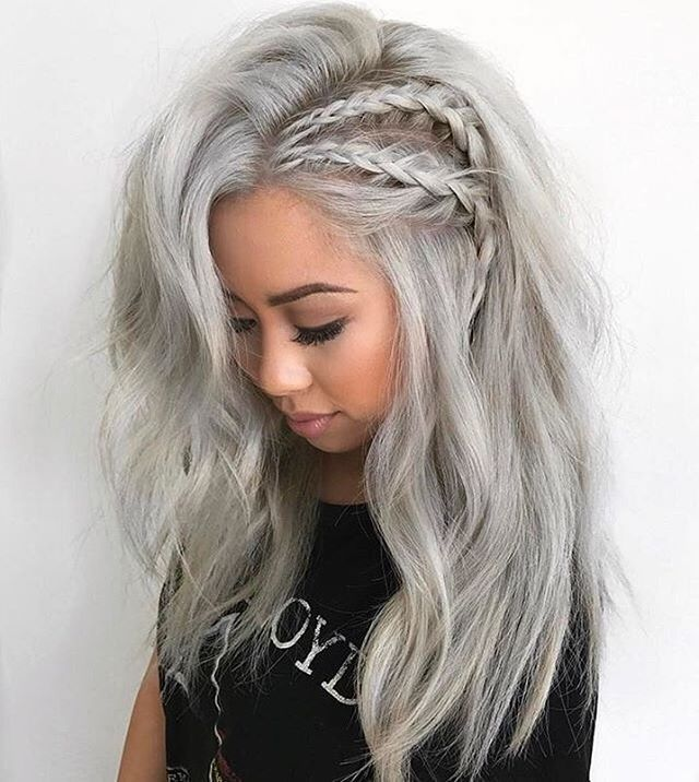 Gray Braided Hair Beachy waves making are easier with 3 barrel curling iron