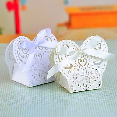 Pearl Paper Favor Box With Laser Cut Shell and Bow - Set of 12 (More Colors) – USD $ 7.99