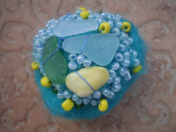 Sea glass beaded felted stone turquoise felted by thalasseaglass, $12.00