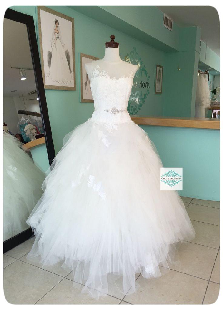 """Corte princesa con malla en el pecho y falda de """"pañuelos""""❤️❤️❤️ Para una novia tradicional con un toque muy moderno"""