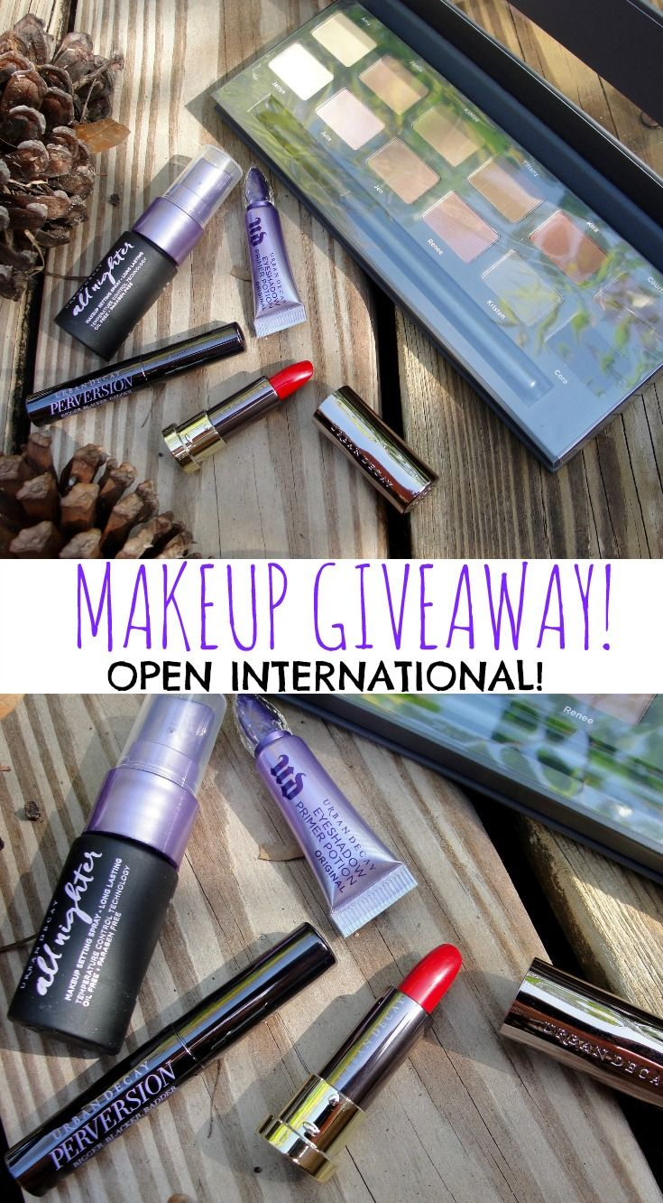 Enter this Makeup Giveaway to win Enter to win the Ulta Matte Neutrals 12 Piece Eye Shadow Palette and the Urban Decay Vice lipstick in 714 (bright red), the Urban Decay Perversion Mascara, the Urban Decay All Nighter Makeup Setting Spray, the Urban Decay Eyeshadow Primer Potion (all UD in travel size).