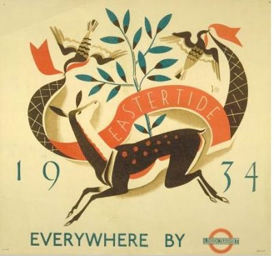 Eastertide 1934 - Everywhere by London Transport - illustrated by D M Batty, 1934