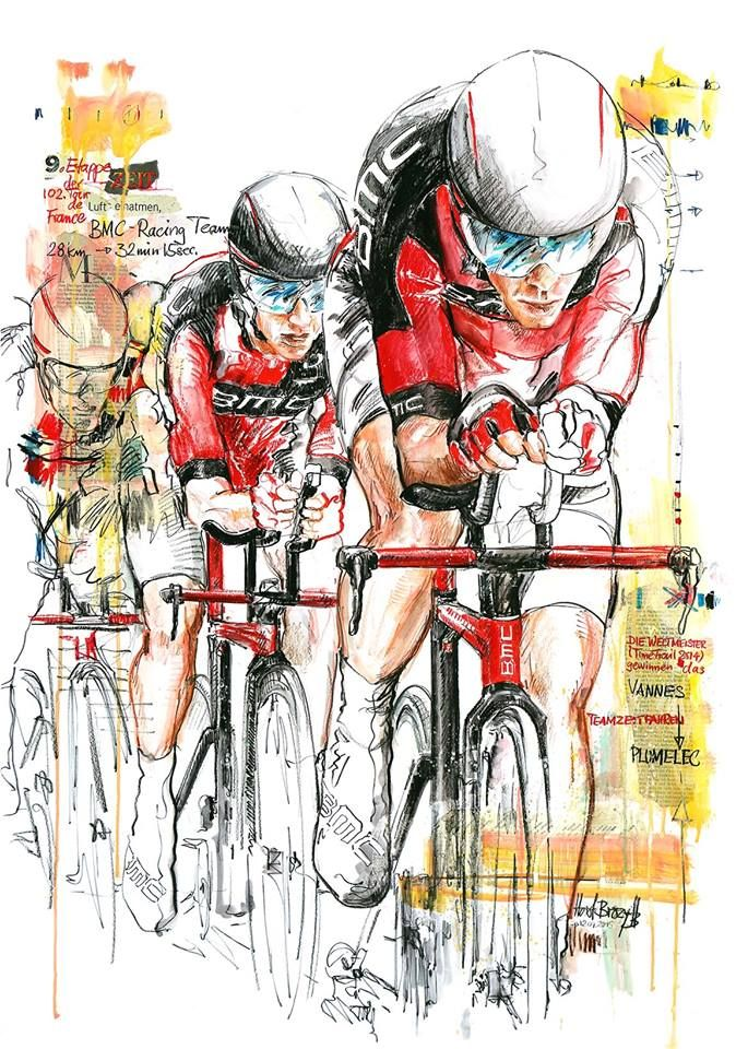 cadenced: BMC Racing Team's World Championship winning team time trial squad in action illustrated by Horst Brozy.