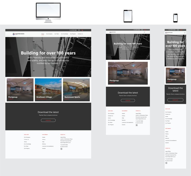 Responsive website interfaces for Paynter Dixon