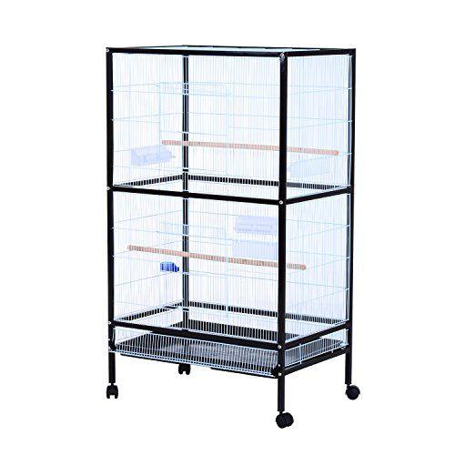 "Pawhut 54""H Bird Flight Cage Stand - Black/White - http://www.petsupplyliquidators.com/pawhut-54h-bird-flight-cage-stand-blackwhite/"