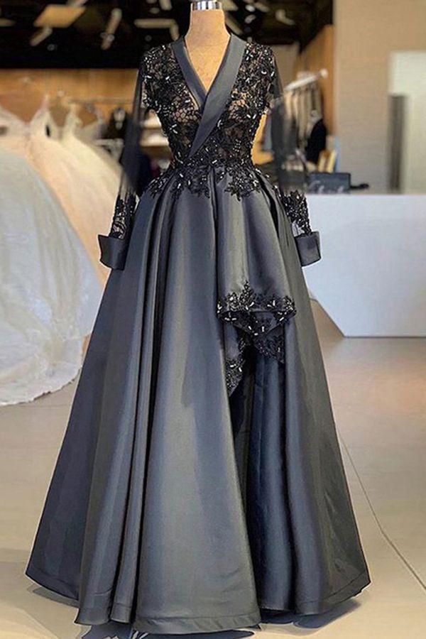 V-Ausschnitt Grau Ballkleider Lange Ärmel Applikationen Abendkleider Perlenstickerei   – abiye