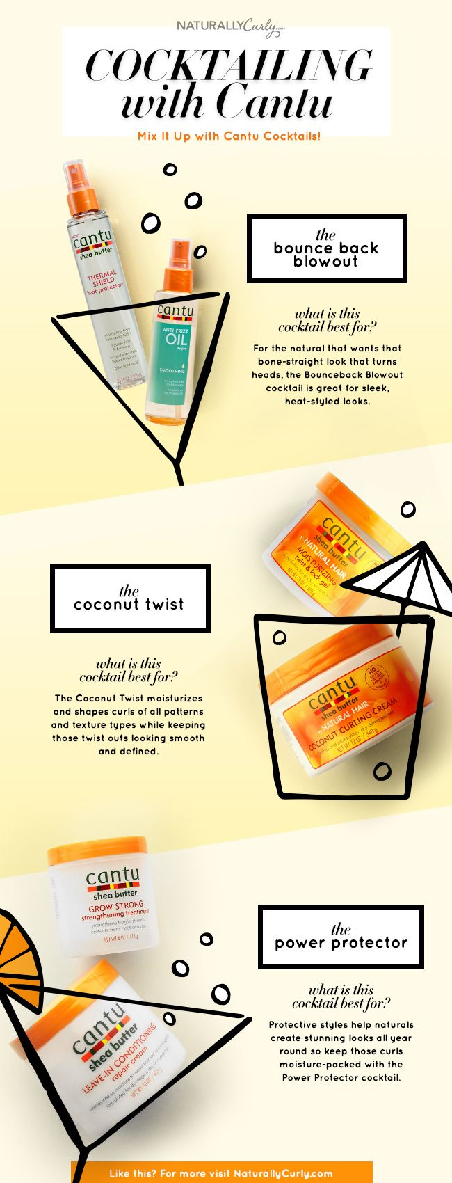 Determine which of these Cantu Shea Butter Cocktails works best for curls, coils, kinks, and waves.