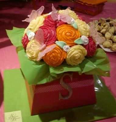 I went to my friend Shakira's birthday party and she had two amazing cupcake bouquets.  They were made of mini vanilla cupcakes which had colored buttercream