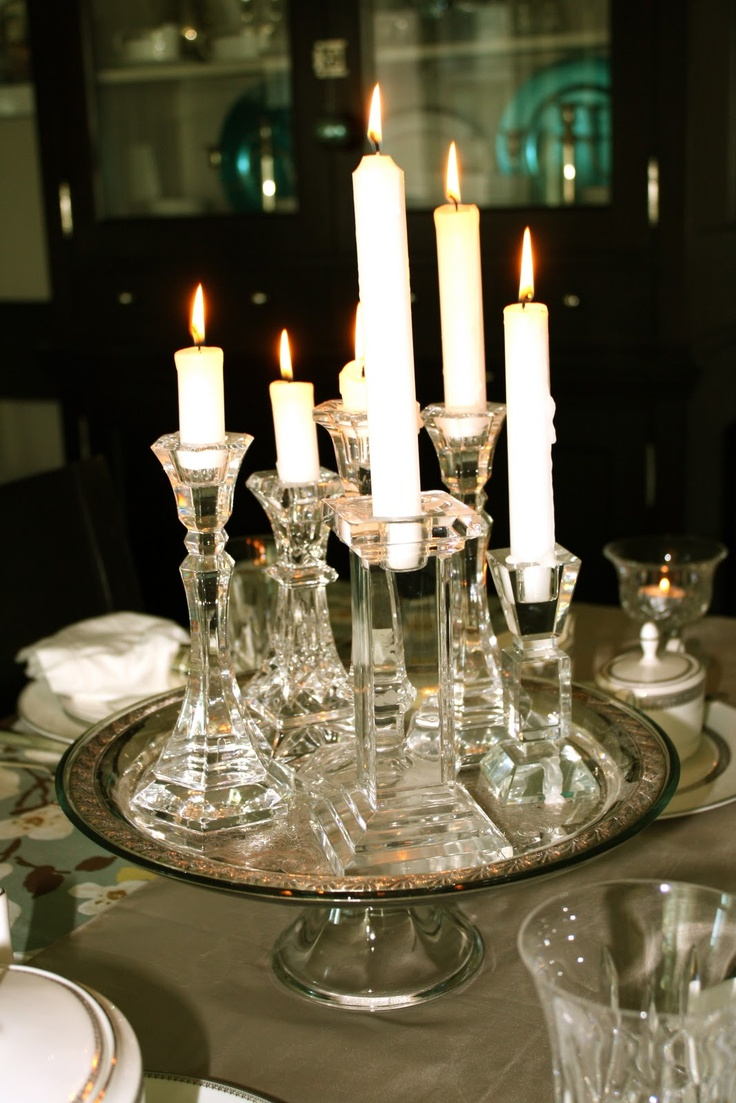 Glass Candle Centerpiece : Best elegant tablescapes settings images on