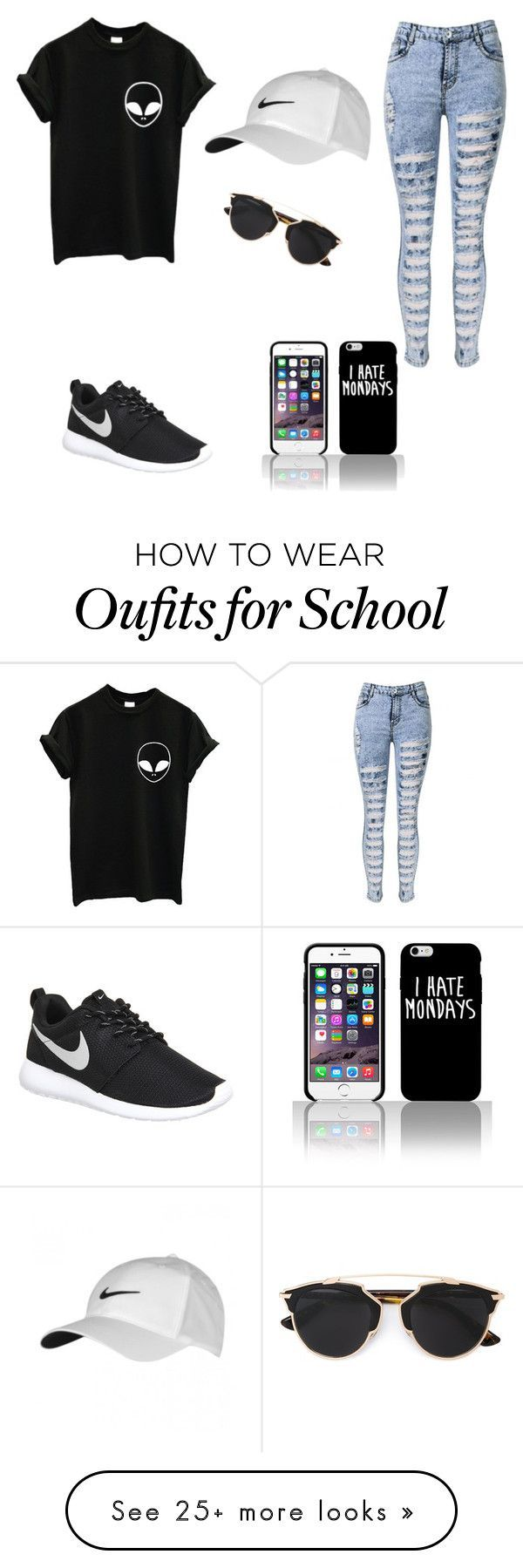 """""""School"""" by chloerenee11 on Polyvore featuring Christian Dior and NIKE"""