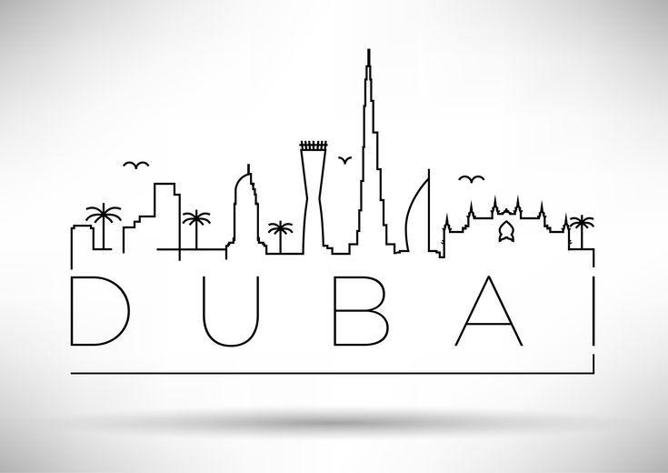 Minimal Dubai Skyline Arte Grafico Skyline Arte Grafico Imagenes De Arte
