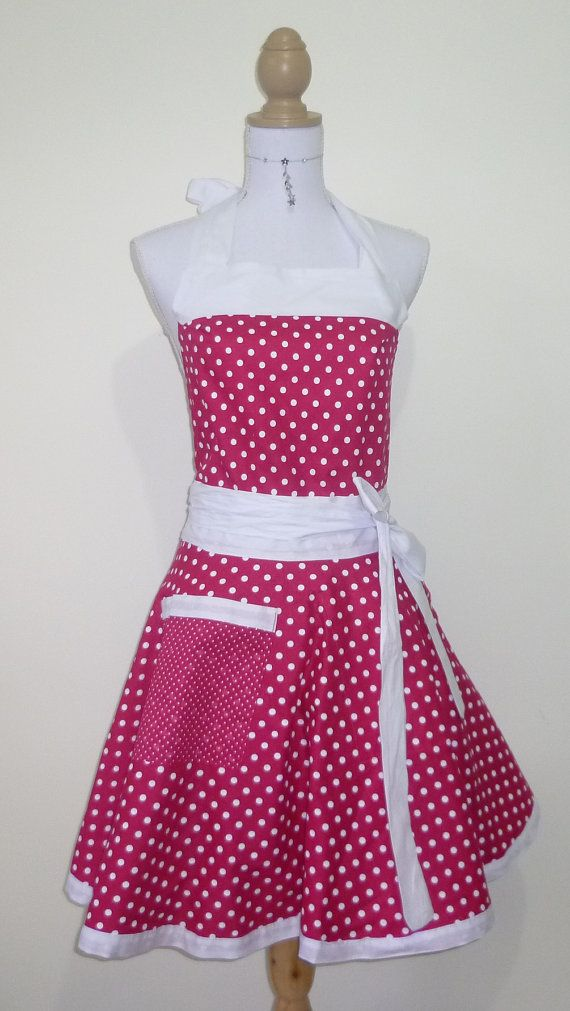 Cute Retro Apron - Pink and White Polk-a-Dot Reversible Sweetheart Apron