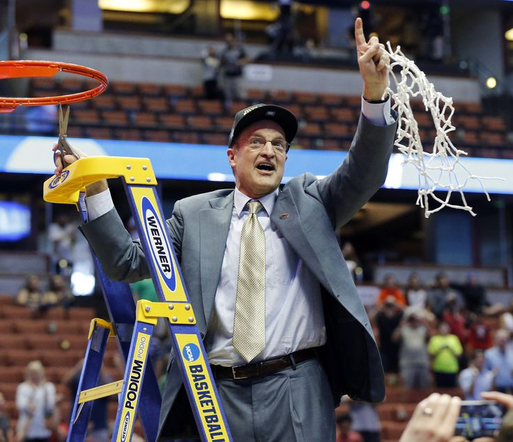 Oklahoma coach Lon Kruger celebrates as he cuts down the net after the Sooners won the West Regional final in the NCAA Men\'s Basketball Championship against the Oregon Ducks at the Honda Center in Anaheim, Calif., Saturday, March 26, 2016. OU won 80-68. Photo by Nate Billings, The Oklahoman