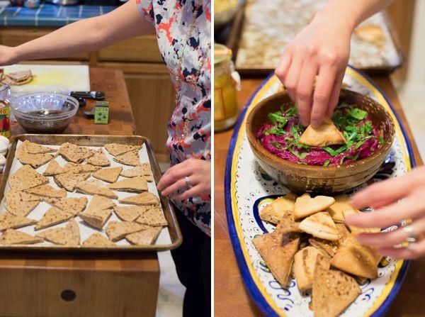 Beet Hummus and Homemade Pita Chips // lickmyspoon.com