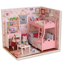 Мини поделки из светодиодов свет кукольный дом 3D головоломки деревянные мини-кукольный дом детей игрушки сборка комнаты ручной на рождество подарок S20(China (Mainland))