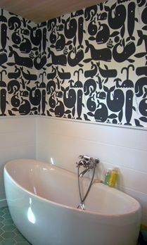 Kid's bathroom wallpaper - or not as wall paper but big piece