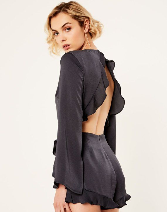 Open Back Ruffle Playsuit Dark Ash