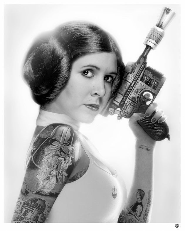 Princess Leia (b/w tattoo) by JJ Adams
