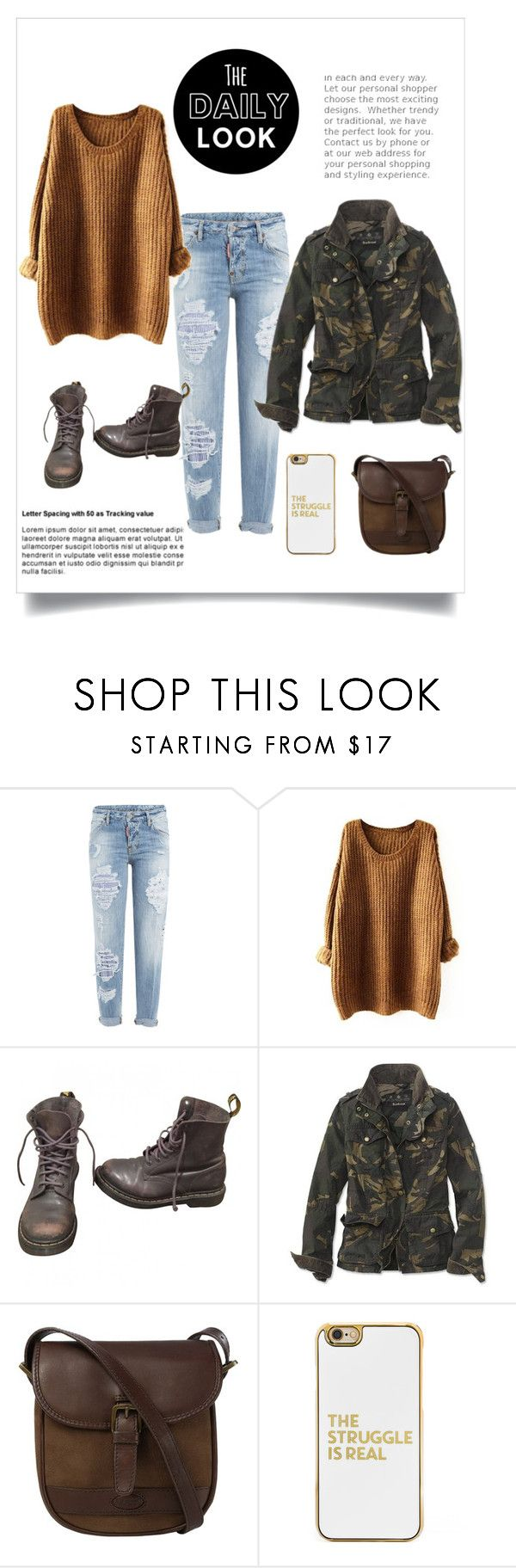 """""""My Daily Look"""" by kadylady1 ❤ liked on Polyvore featuring Dsquared2, Dr. Martens, Barbour, DUBARRY and BaubleBar"""