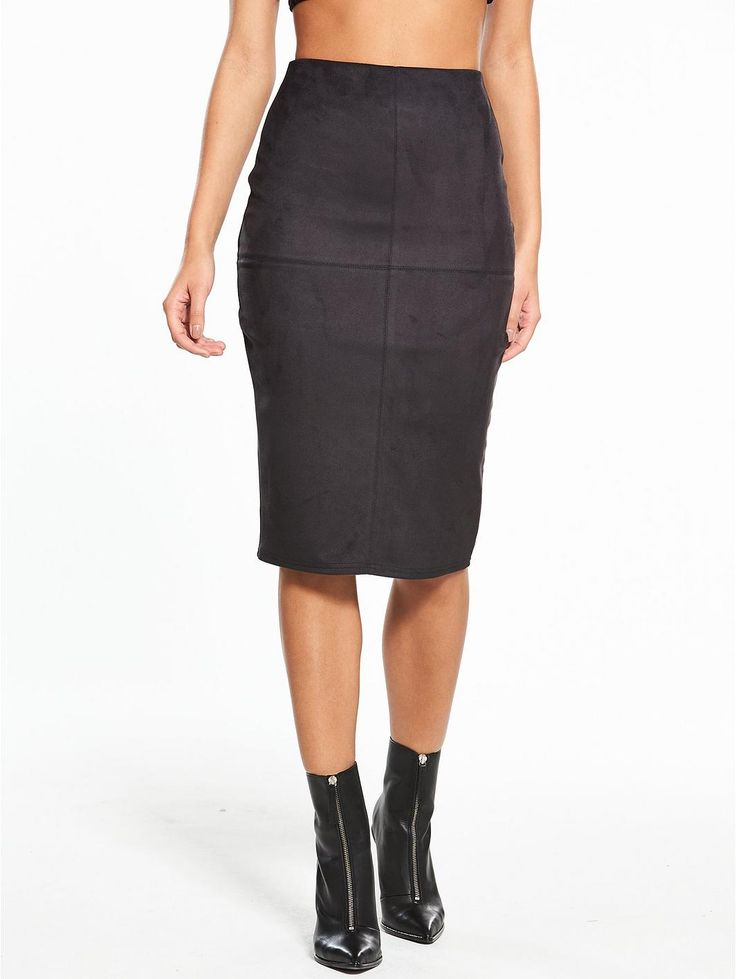 River Island River Island Suedette Pencil Skirt- Black, http://www.very.co.uk/river-island-river-island-suedette-pencil-skirt--black/1600214179.prd