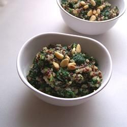 Cheesy Quinoa Pilaf with Spinach Allrecipes.com