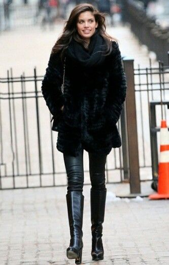 All black leather boots fur coat jacket high neck