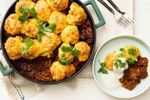 Cornbread and yoghurt dumplings make a fantastic topping for this hearty beef stew.