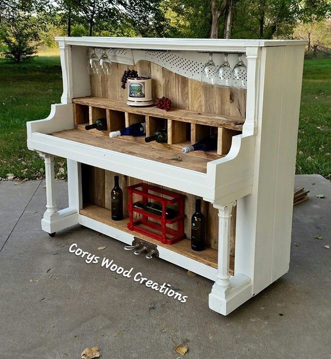 Repurposed piano into wine bar