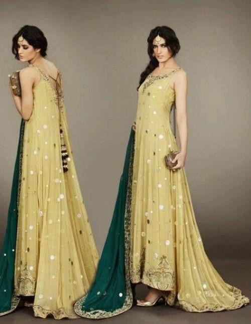 Pakistani indian chiffon light yellow long tail embroided shalwar anarkali dull green dupatta.  Reminds me of a Klimt painting