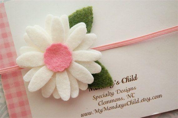 Daisy Felt Flower Headband in Pink   Newborn by MyMondaysChild, $6.95