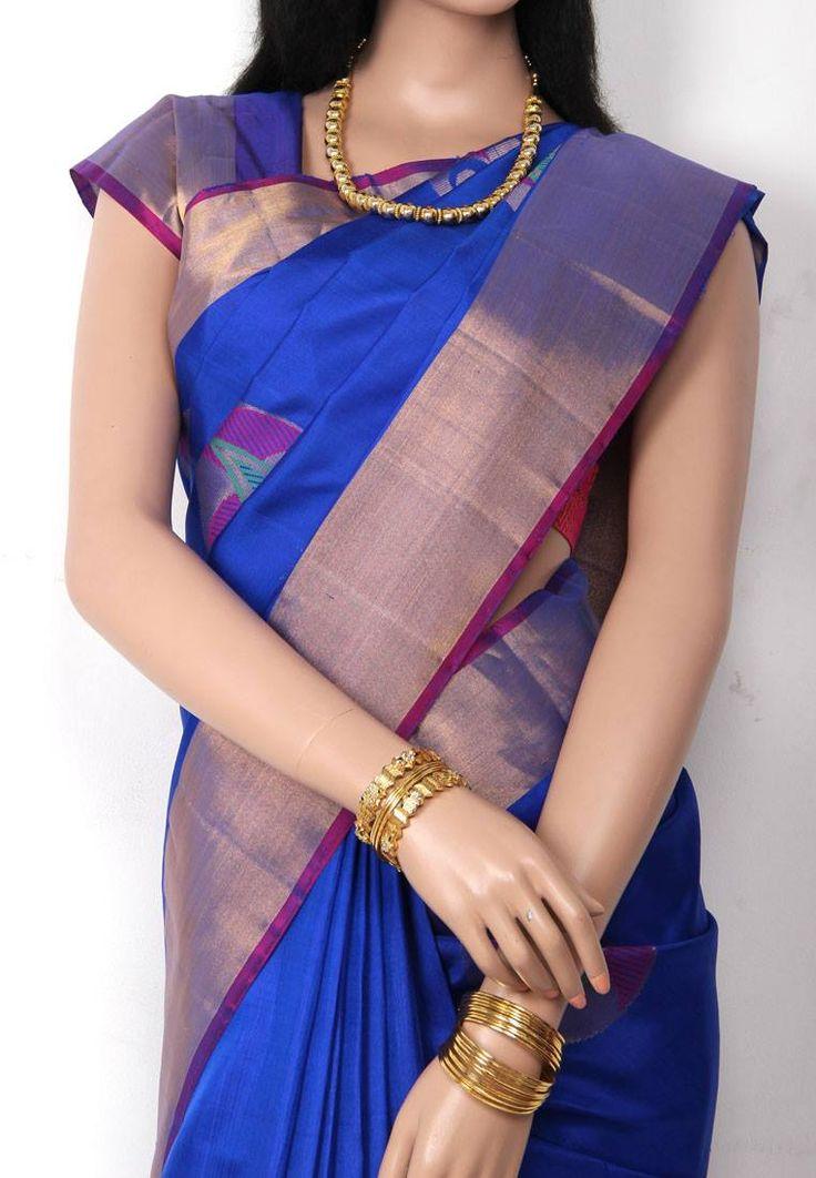 Pepsi Blue Colored All over Designed Mango Butta Body with Golden Jari Bordered Pure Soft Silk Saree and Purple Colored Pallu and Blouse Part @ Rs.5950 http://www.shreedevitextile.com/women/sarees/soft-silk-saree/shree-devi/pepsi-blue-colored-soft-silk-saree-1007