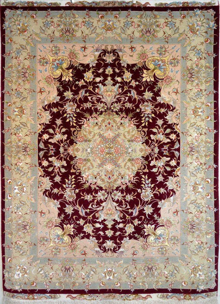 Khatibi Red Silk Persian Rug You pay: $4,900.00 Retail Price: $9,900.00 You Save: 51% ($5,000.00) Item#: PA-274 Category: Small(3x5-5x8) Persian Rugs Design: Center Medallion Floral Size: 150 x 200 (cm)      4' 11 x 6' 6 (ft) Origin: Persian, Tabriz Foundation: Silk Material: Wool & Silk Weave: 100% Hand Woven Age: Brand New KPSI: 550