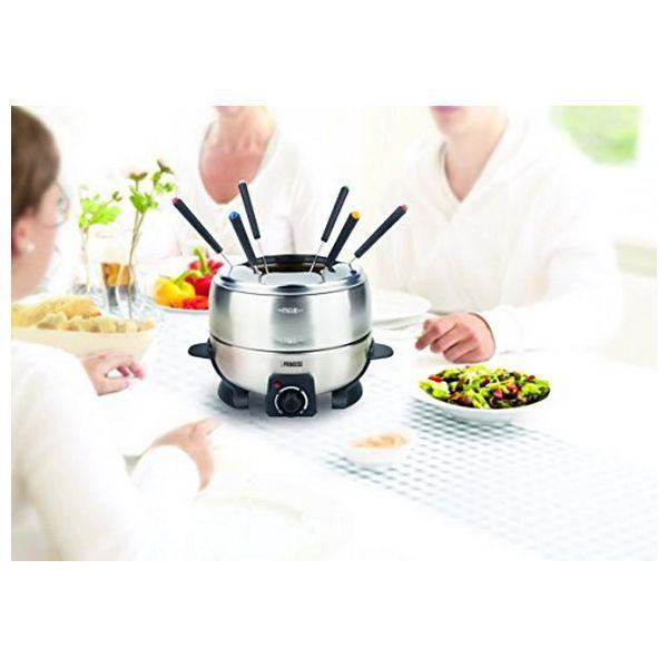 EDELSTAHL FONDUESET PRINCESS mit 6 Fonduegabeln und elektrischer Kochplatte Die …   – Haushalt