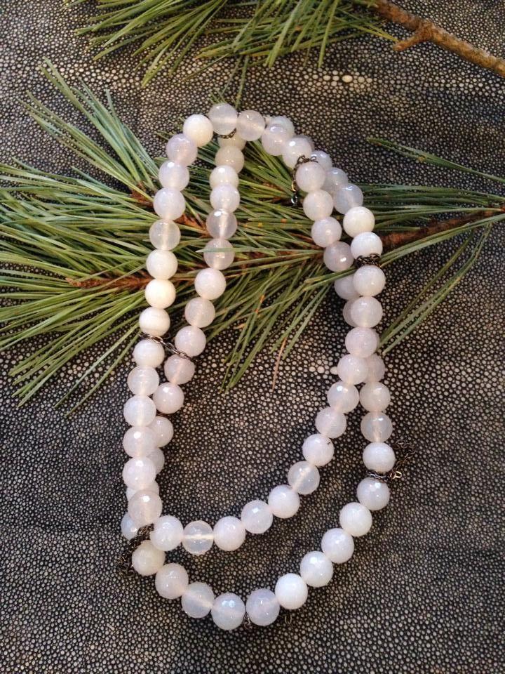 White Gemstone W/Chain Tassels. http://bit.ly/1w65kTi www.RachelOlesker.com