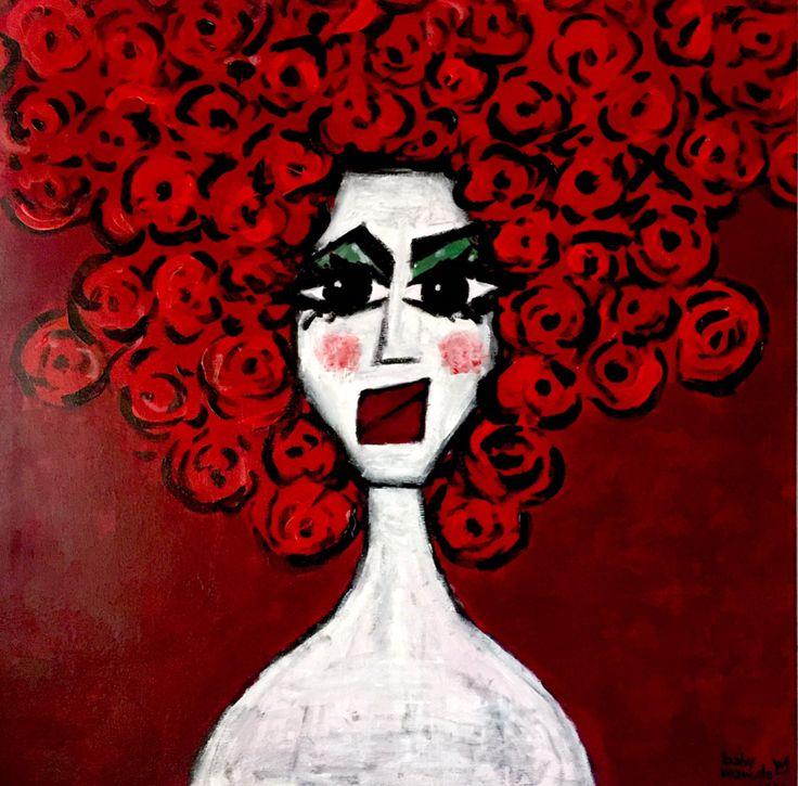 la donna di fiori - 70x70 acrylic on canvas - babymarcelo 2017