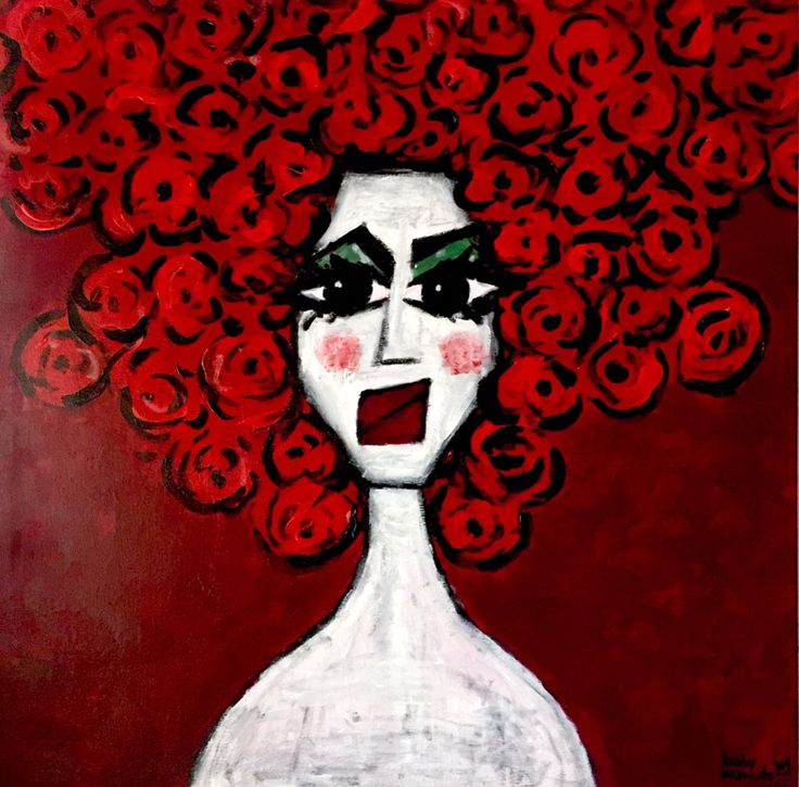 la donna di fiori - 70x70 acrylic on canvas - babymarcelo 2017