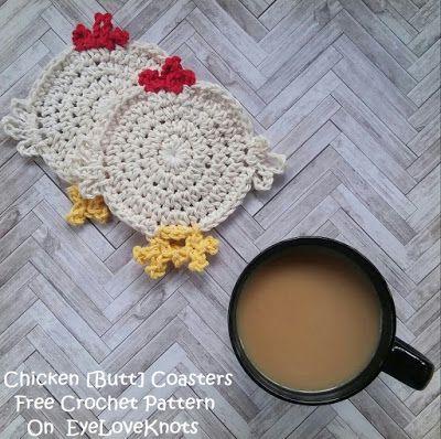 EyeLoveKnots: Chicken [Butt] Coasters - Free Crochet Pattern