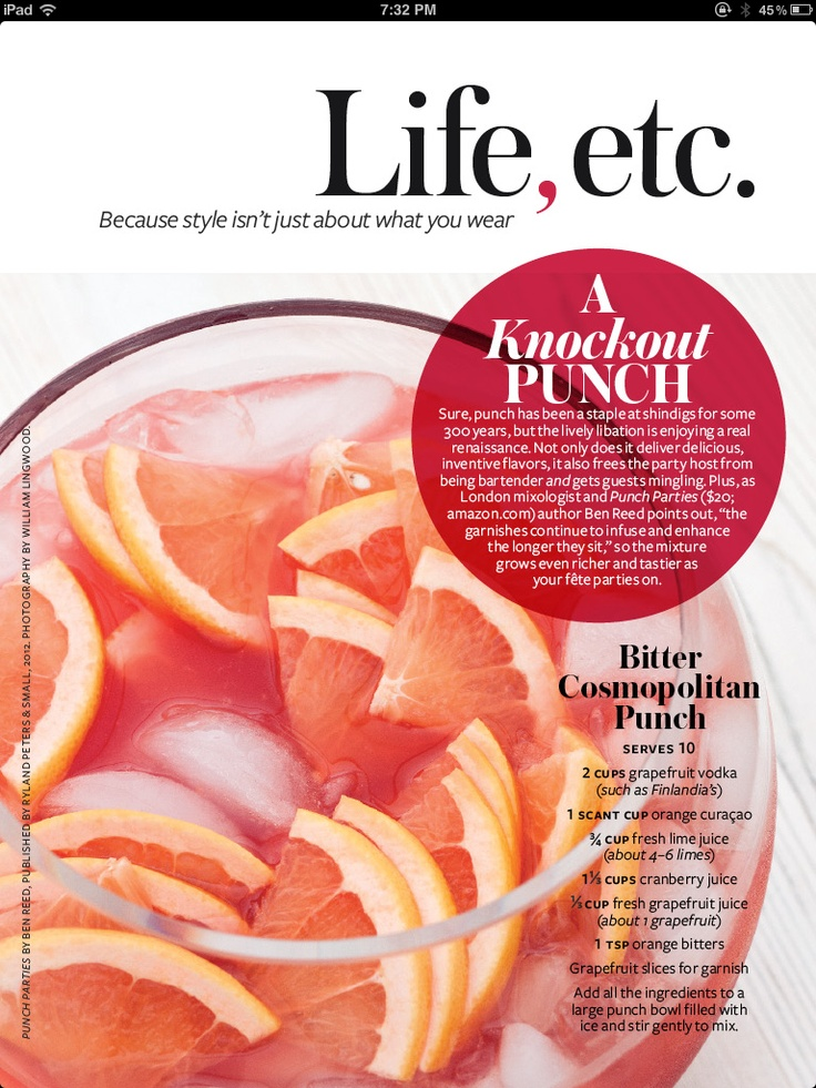 Bitter Cosmopolitan Punch  #Grapefruit #InStyle  InStyle March 2012: Cocktails Hour, Marching 2012, Parties, Adult Beverages, Instyle Marching, Grapefruit Instyle, Cosmopolitan Punch, Bitterness Cosmopolitan, Drinks Ideas